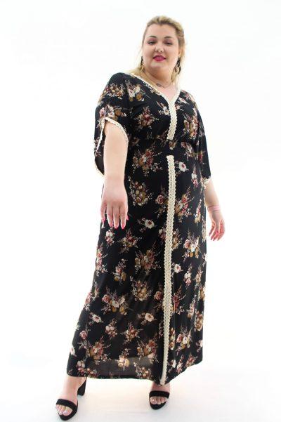 Φόρεμα floral με V στο στήθος και στην πλάτη και λάστιχο στη μέση