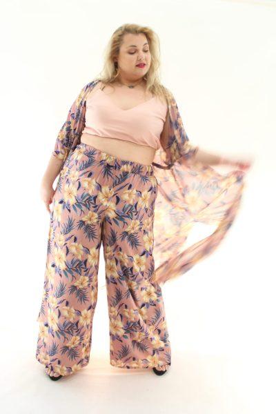 Παντελόνα florar ψηλόμεση με λάστιχο στην μέση σε 2 χρώματα