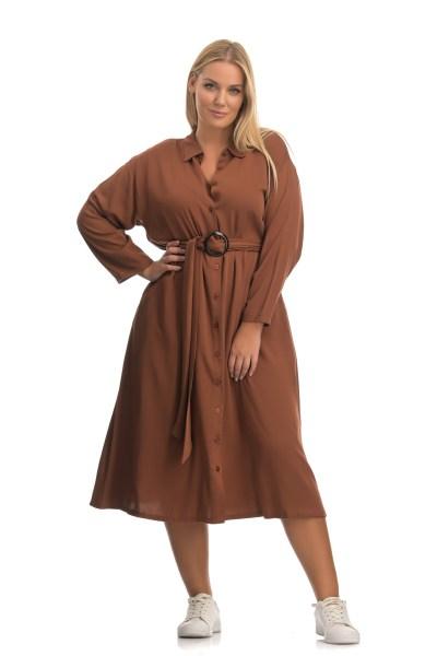 Φόρεμα σεμιζιέ καφέ με 3/4 μανίκι και ζωνάκι