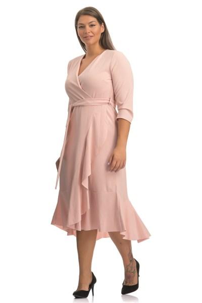 Φόρεμα κρεπ κουφετί κρουαζέ με 3/4 μανίκι και ζωνάκι