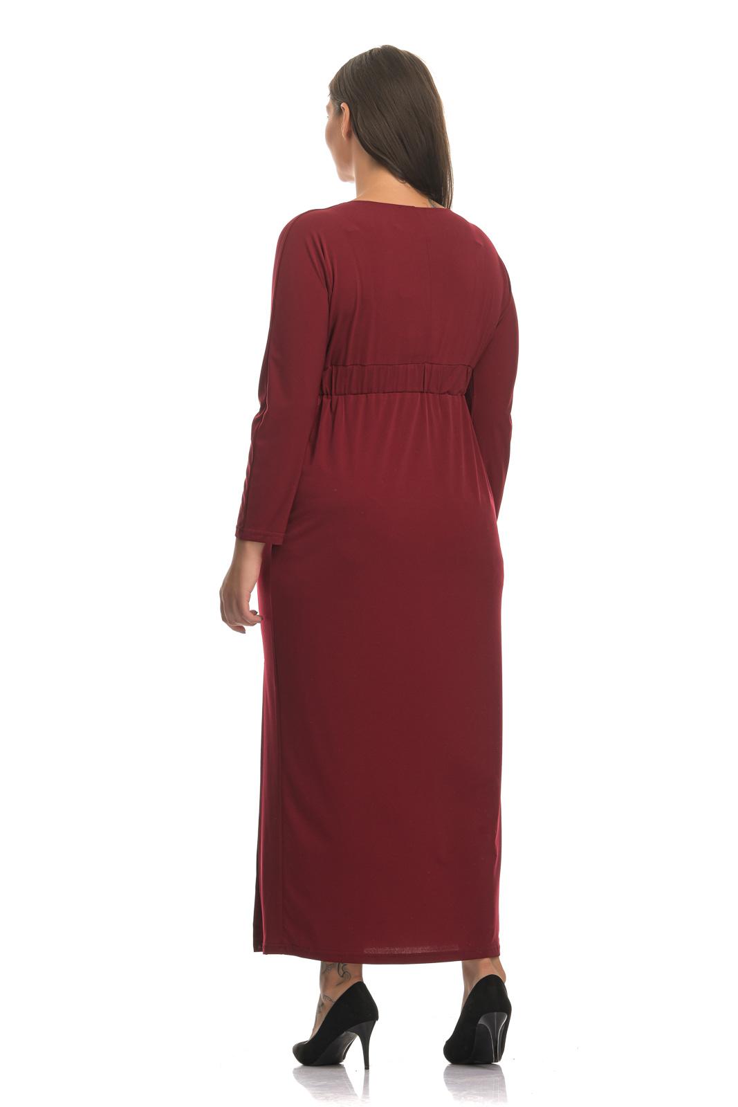 Φόρεμα μπορντώ με V και σκίσιμο στο τελείωμα