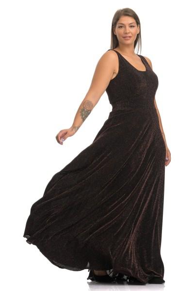 Φόρεμα maxi λούρεξ μπρονζέ με διαφάνεια στο στήθος και λάστιχο στη μέση