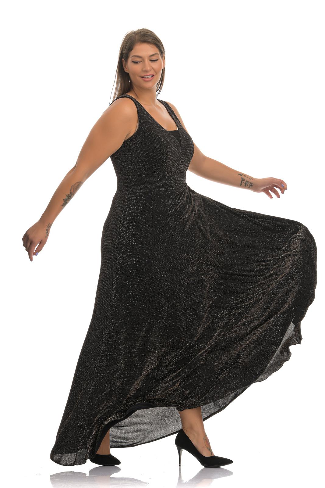 Φόρεμα maxi λούρεξ χρυσό με διαφάνεια στο στήθος και λάστιχο στη μέση