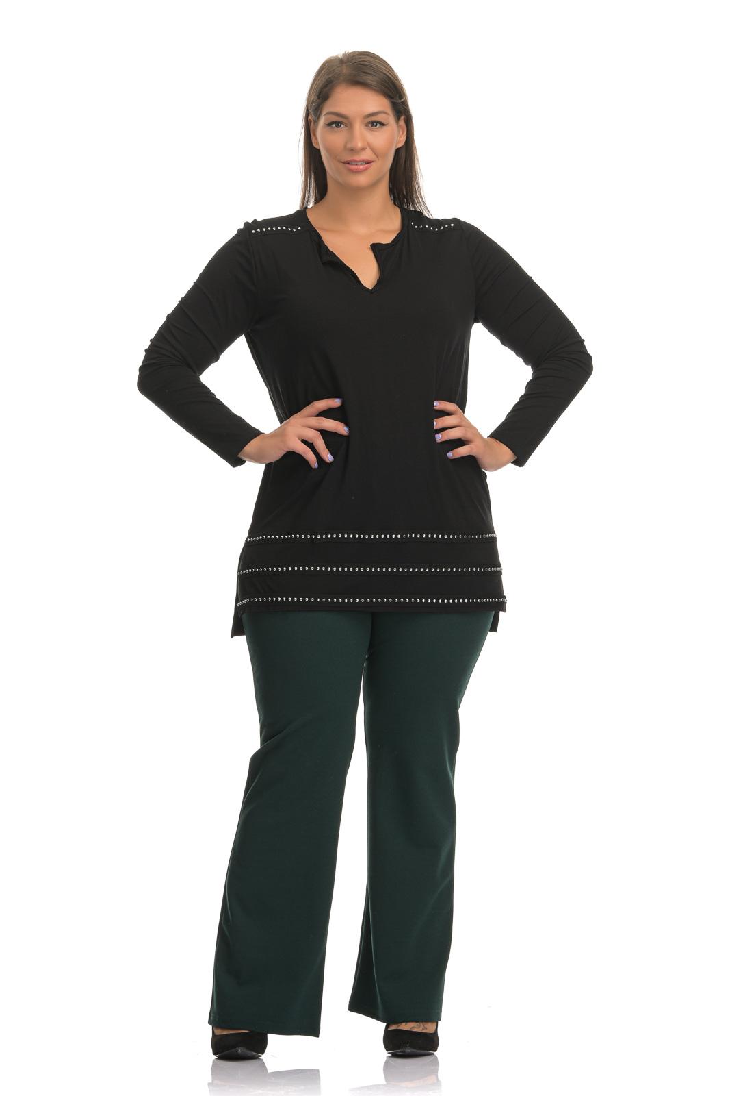 Παντελόνα κρεπ κυπαρισσί σε ίσια γραμμή με λάστιχο στη μέση και κουμπιά