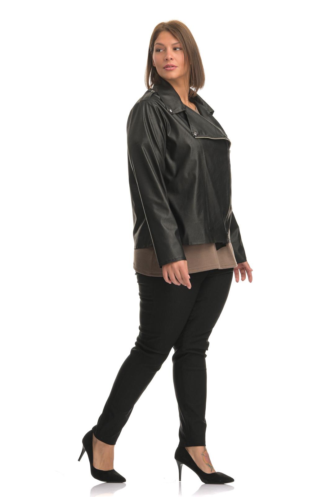 Jacket +Psx  ελαστικής δερματίνης μαύρο με λοξό φερμουάρ