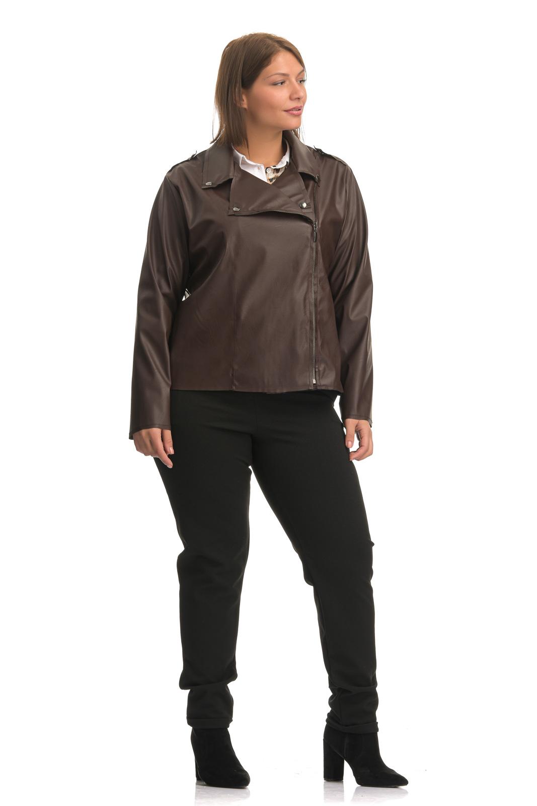 Jacket +Psx  ελαστικής δερματίνης καφέ με λοξό φερμουάρ