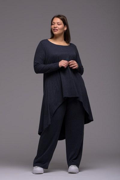 Μπλούζoφόρεμα +Psx γκρι μπλε ελαστική βισκόζ