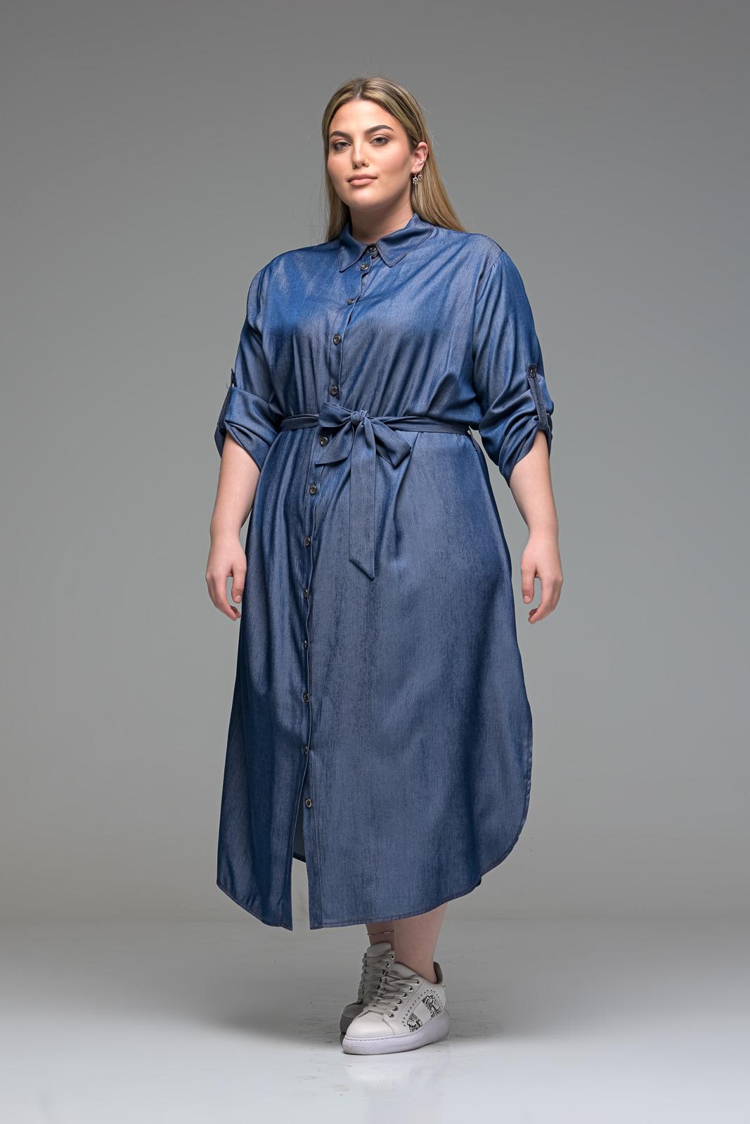 Σεμιζιέ τζιν φόρεμα με ζωνάκι στην μέση