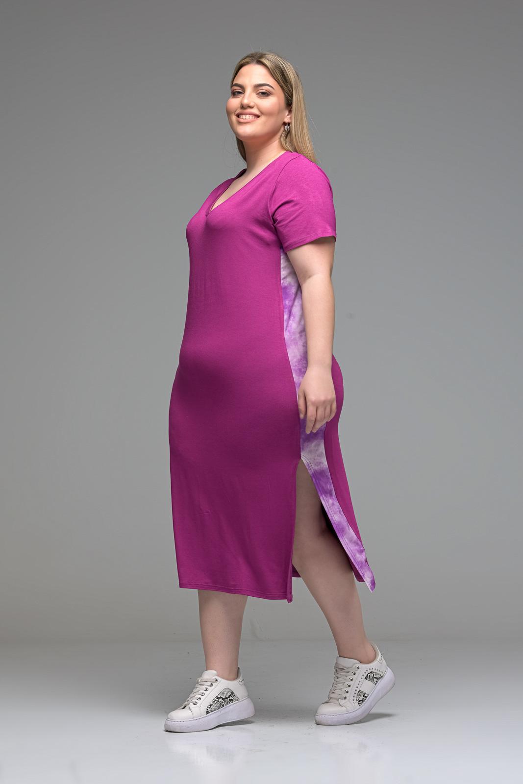 Φόρεμα midi ματζέντα με V και λωρίδα στο πλάι