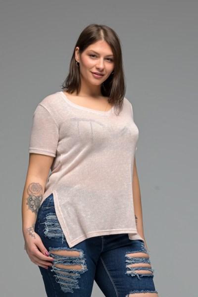 Μπλούζα ψιλό πλεκτό ροζ με V λαιμό