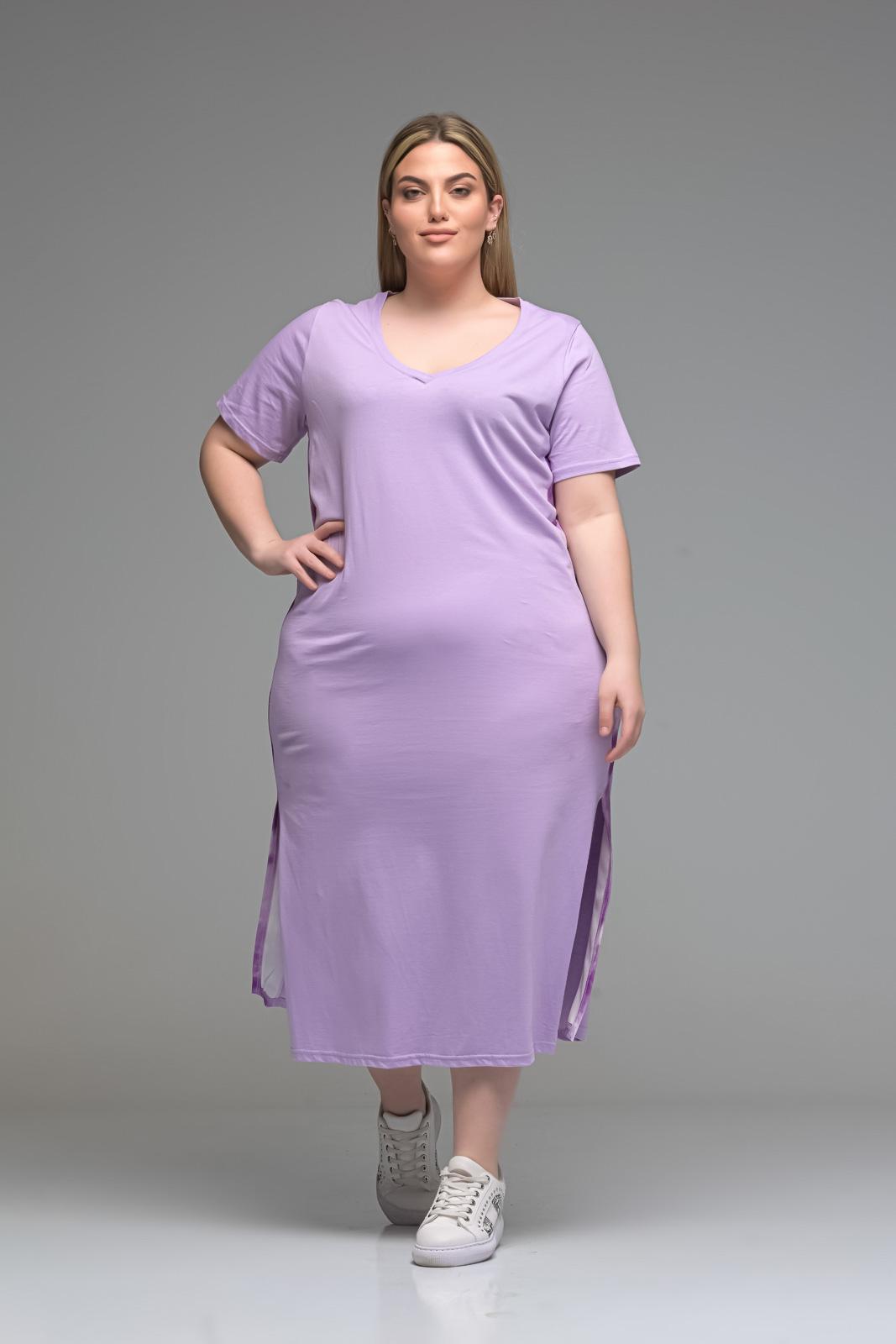 Φόρεμα midi λιλά με V και λωρίδα στο πλάι