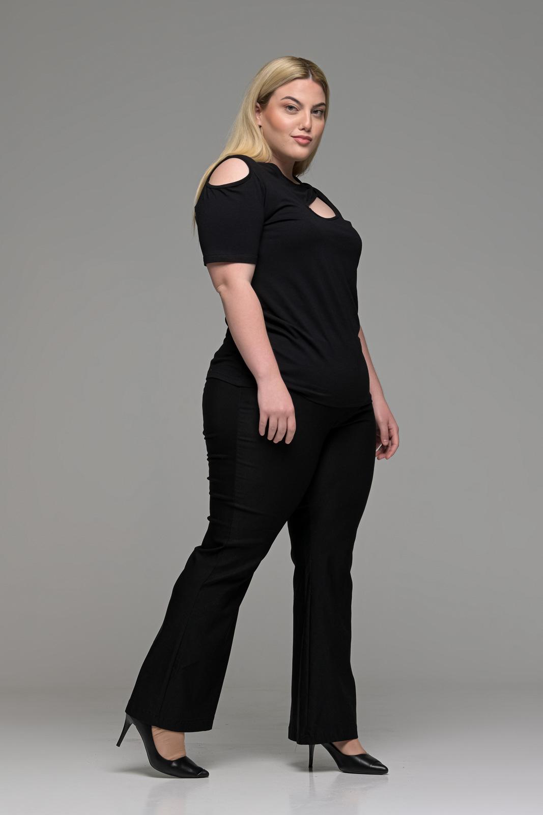 Παντελόνι μεγάλα μεγέθη μαύρο ελαστικό καμπάνα