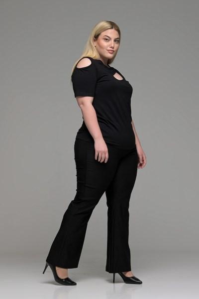 Παντελόνι μαύρο ελαστικό καμπάνα