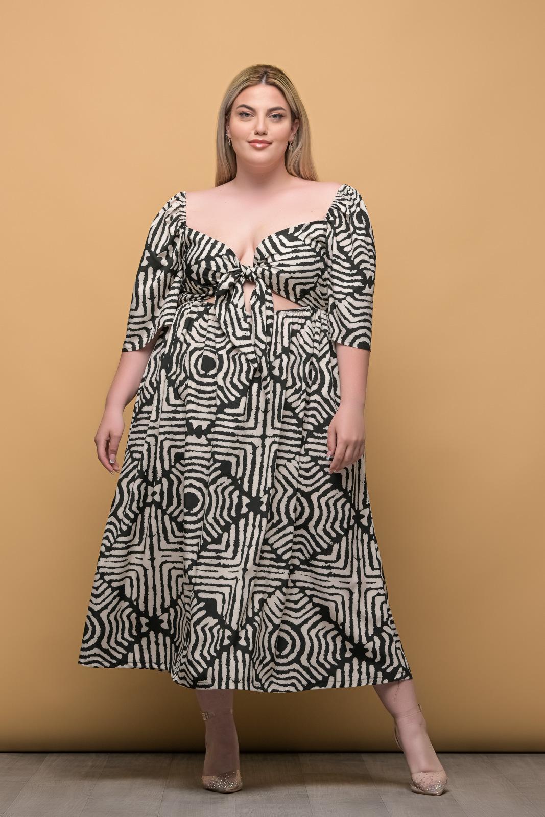 Φόρεμα μεγάλα μεγέθη εμπριμέ μαύρο με δέσιμο στο στήθος και λάστιχο στη .Στο eshop μας θα βρείτε οικονομικά γυναίκεια ρούχα σε μεγάλα μεγέθη και υπερμεγέθη.