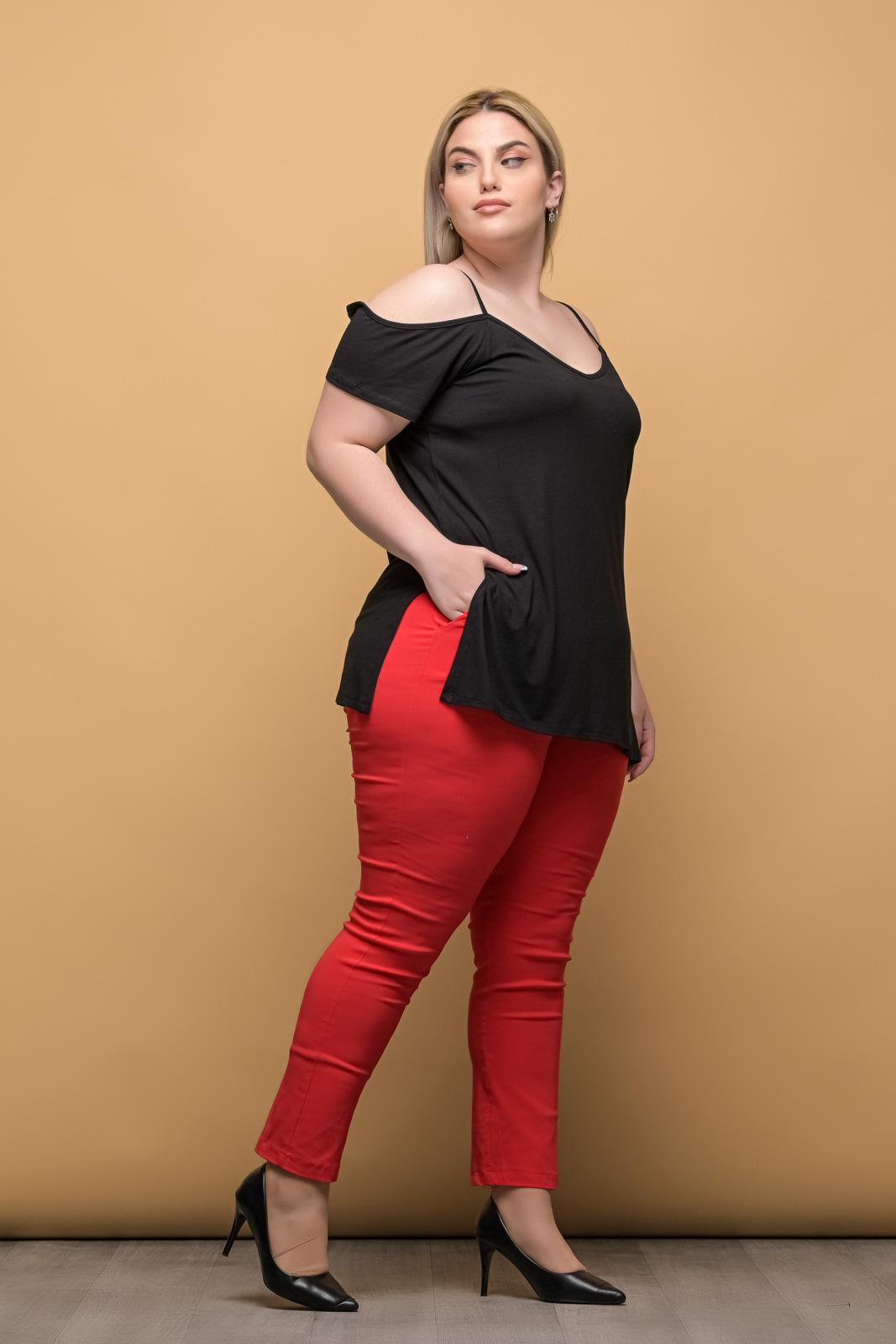 Παντελόνι ελαστική καμπαρντίνα κόκκινη μέχρι τον αστράγαλο