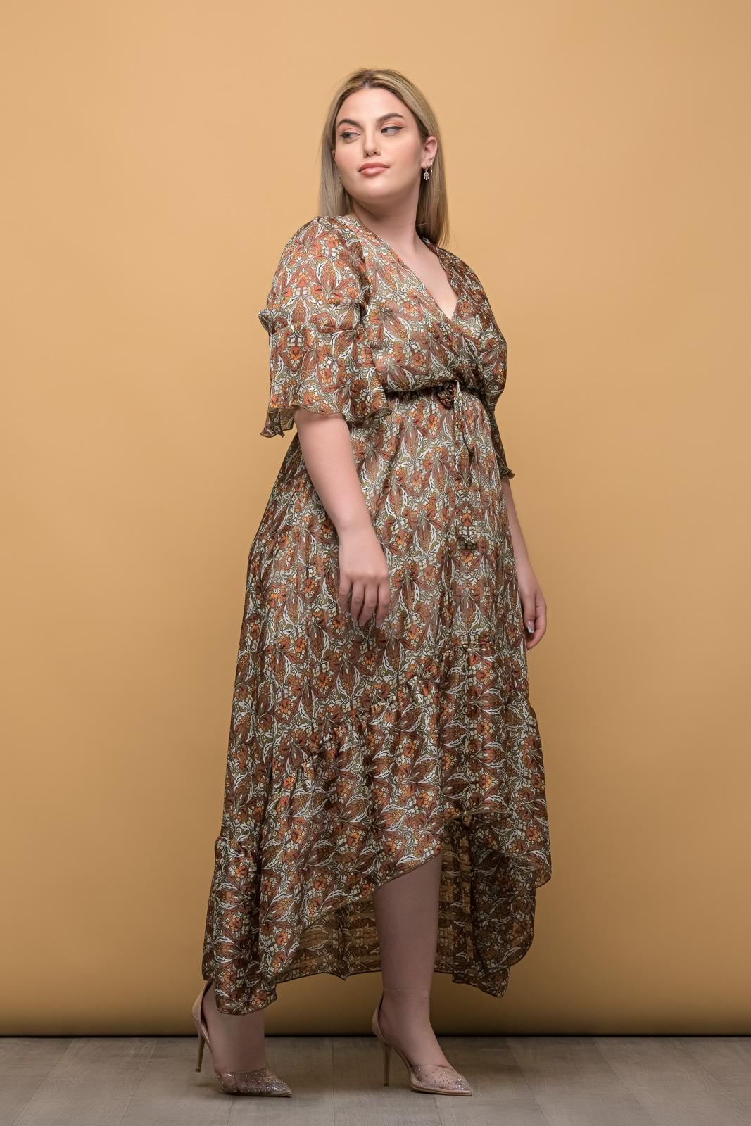 Φόρεμα κρουαζέ μουσελίνα σε αποχρώσεις πράσινου και καφέ