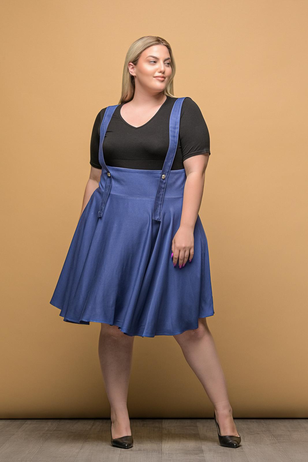 Φούστα μεγάλα μεγέθη ραφ με μπάσκα,τιράντες και φερμουάρ.Στο eshop μας θα βρείτε οικονομικά γυναίκεια ρούχα σε μεγάλα μεγέθη και υπερμεγέθη.