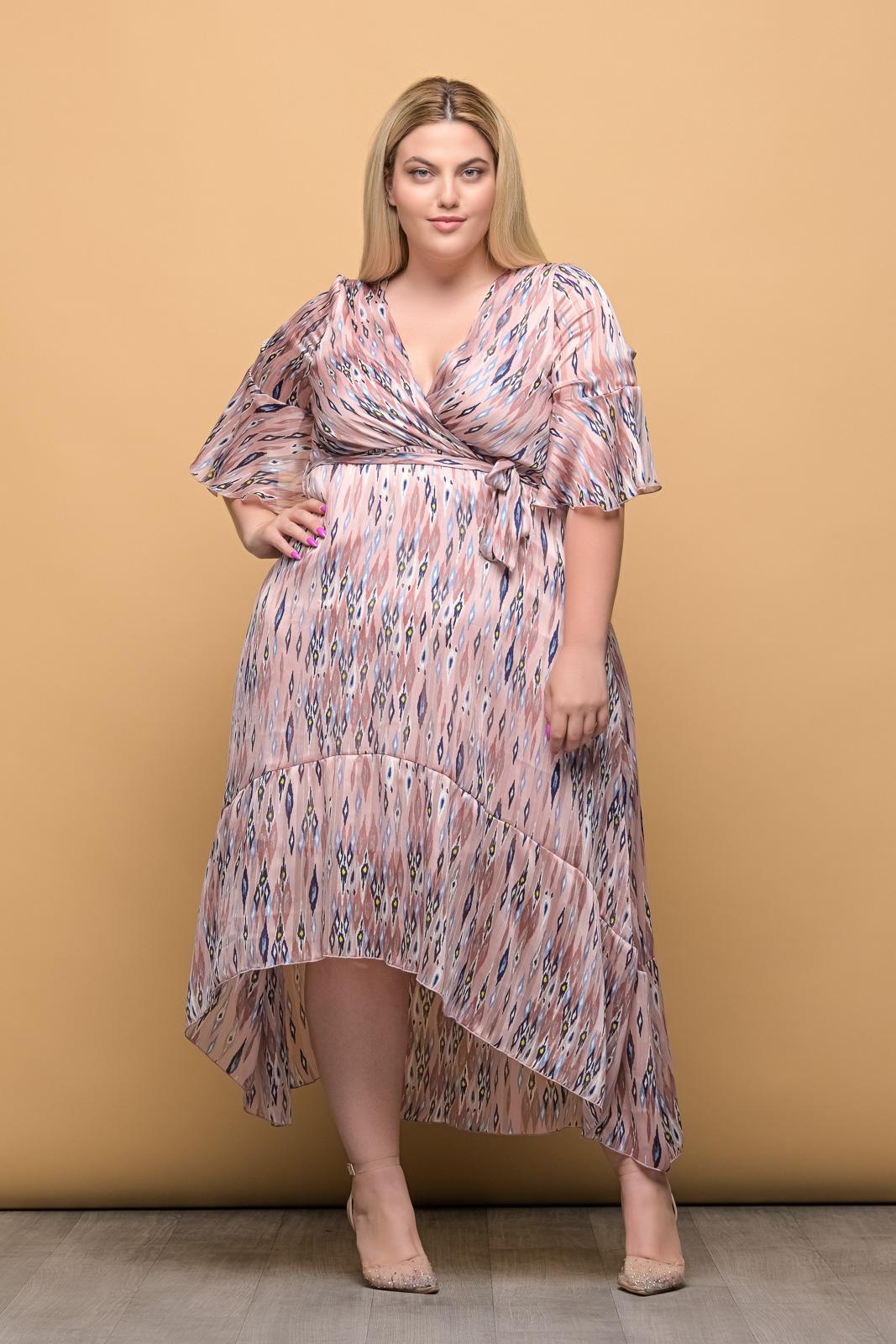 Φόρεμα κρουαζέ μουσελίνα ροζ
