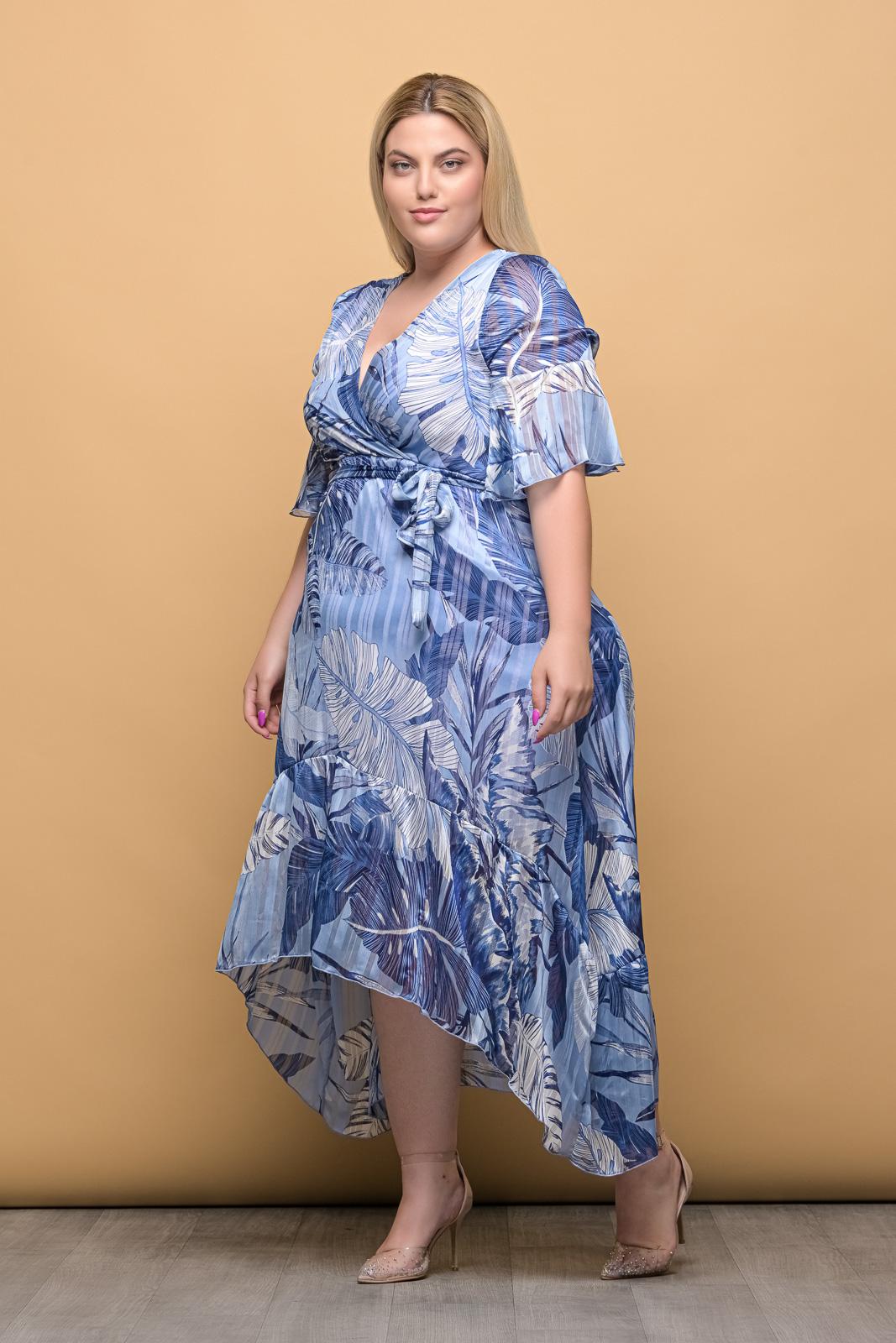 Φόρεμα κρουαζέ μουσελίνα floral/μπλε