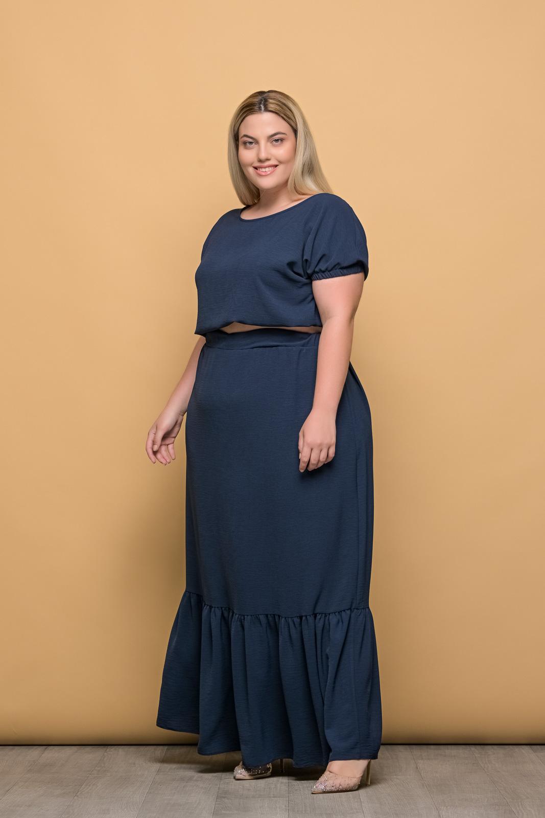 Φούστα maxi με φραμπαλά σε 2 χρώματα