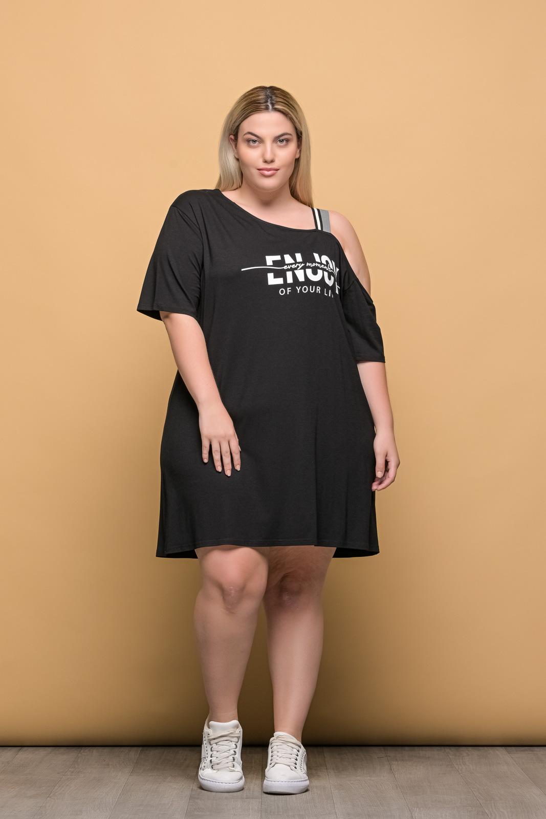 Μπλουζοφόρεμα μεγάλα μεγέθη μαύρο με στάμπα