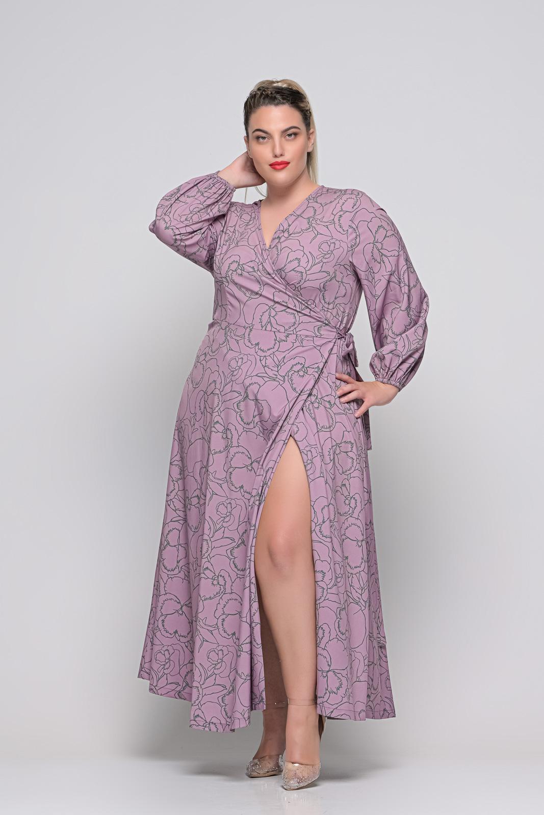 Φόρεμα μεγάλα μεγέθη κρουαζέ εμπριμέ λιλά