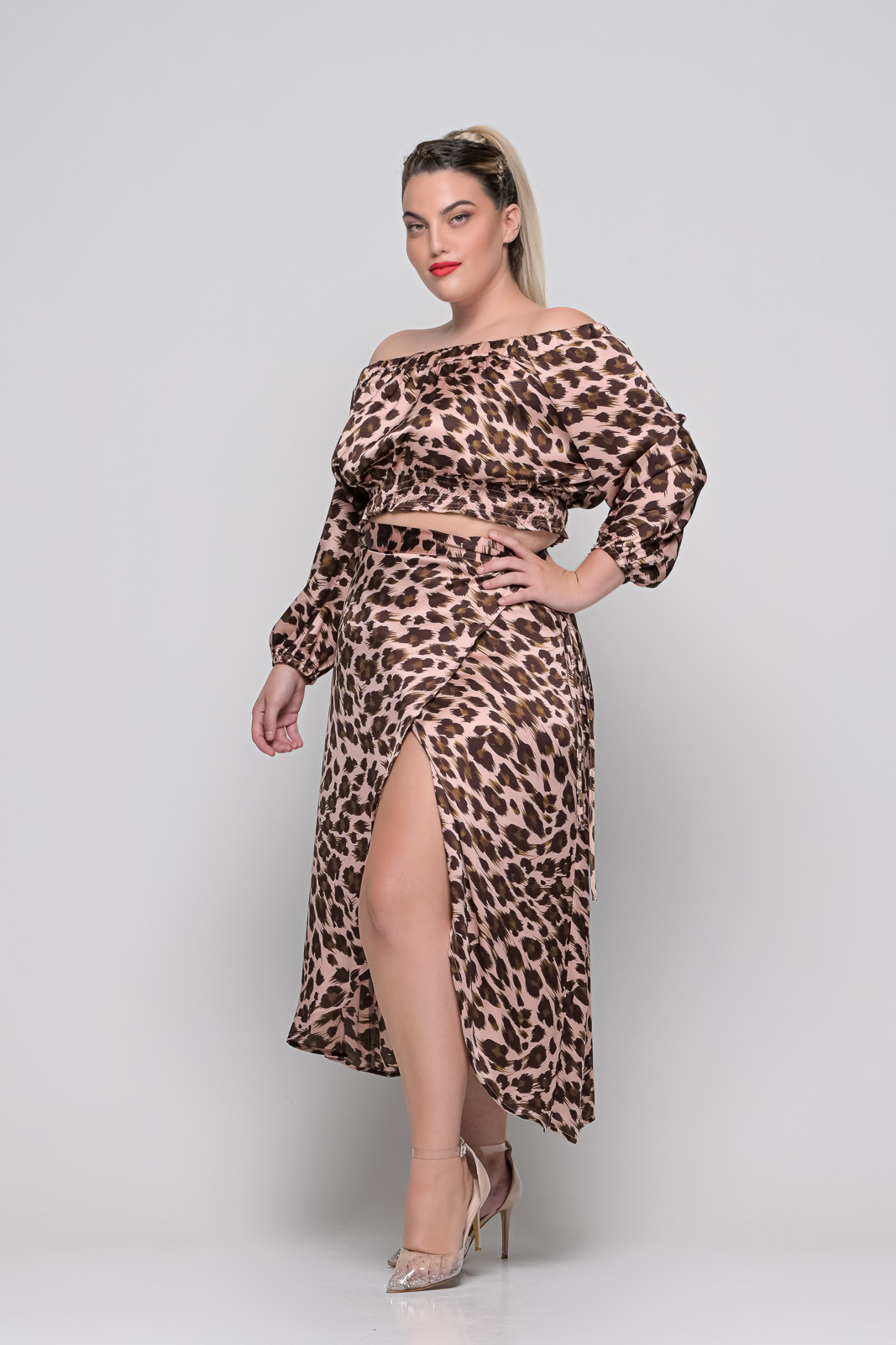 Φούστα μεγάλα μεγέθη λεοπάρ σατεν σομόν φάκελος