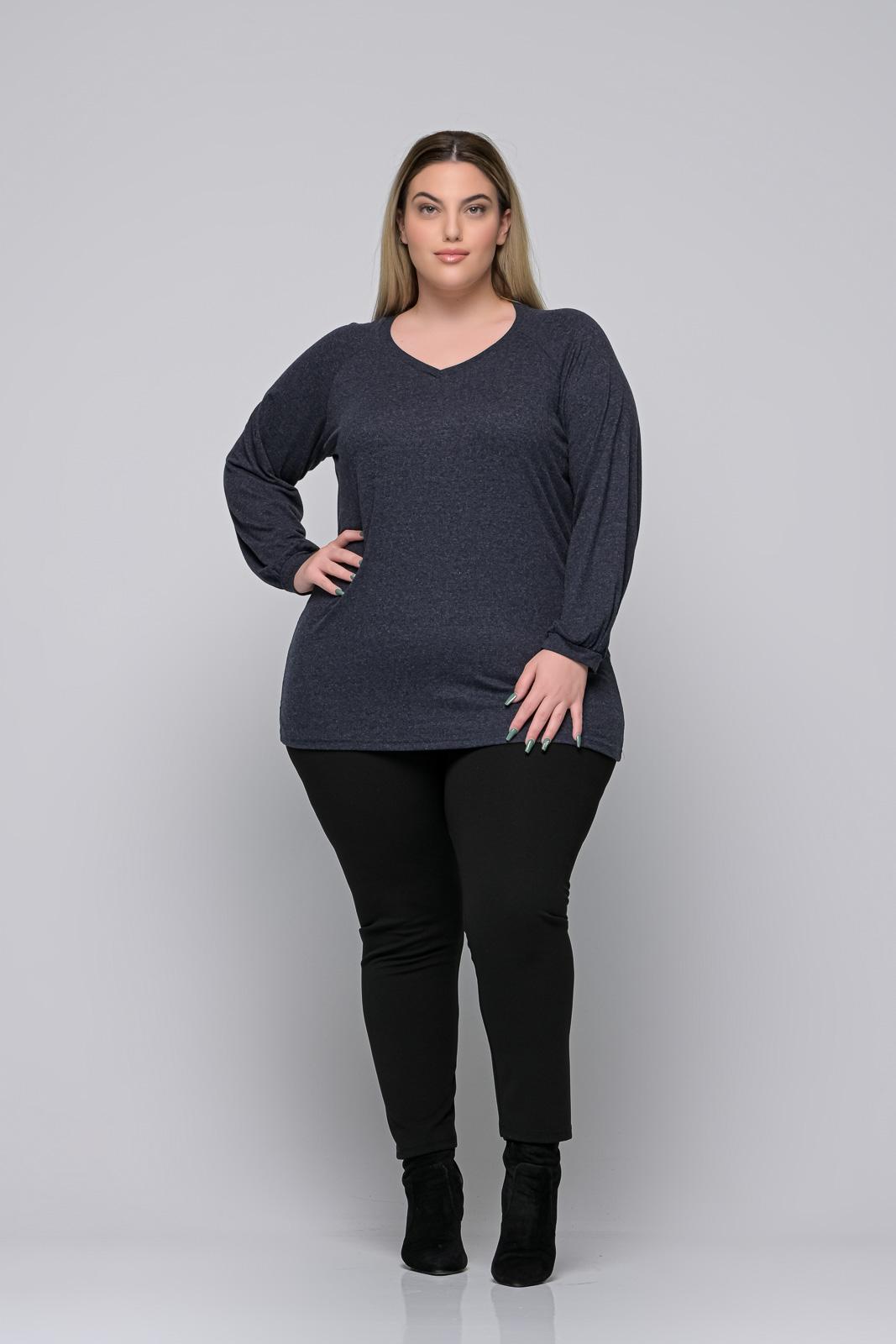 Μπλούζα μεγάλα μεγέθη +Psx γκρι μπλε ελαστική βισκόζ. Στο eshop μας θα βρείτε οικονομικά γυναίκεια ρούχα σε μεγάλα μεγέθη και υπερμεγέθη.
