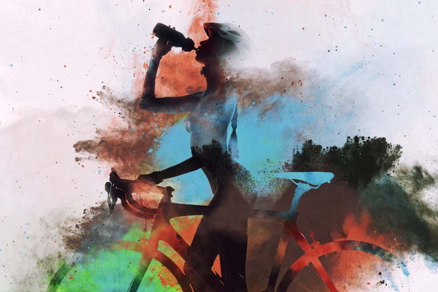 Naked woman with a bicycle drinking a water. Image combined with an abstract colorful watercolor. Digital art