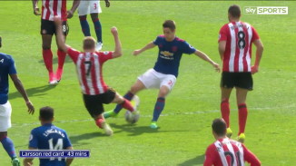 The Sunderland man comes in with his foot high and his studs showing.
