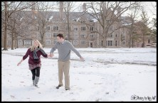 Playful Michigan Winter Engagement Photos