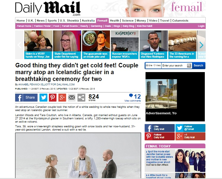 Iceland Wedding Photographer Published in Daily Mail