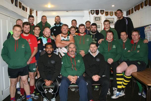 Plymouth Albion players Gregory Sebastien and Marc Koteczky with Plymouth Argaum this week