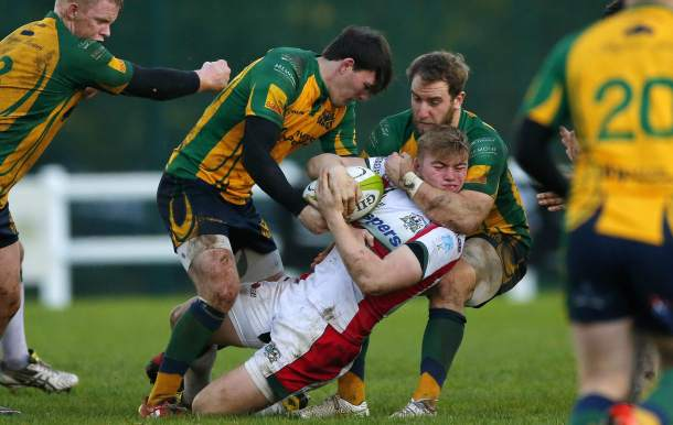 Tom Putt is tackled high against Henley Hawks (picture by Phil Mingo/Pinnacle)