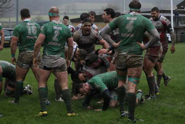 Albion's players celebrate Herbie Stupple's first half try (picture by Paul Thompson/Pinnacle)