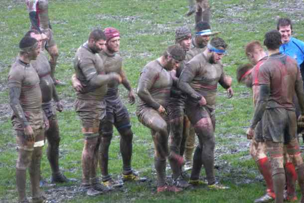 Albion's forwards try to shake the mud off as they prepare for a scrum on Saturday