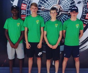 Taylor Scarff (second left) was one of four Sturridge Academy players selected for BVI Under-17 side