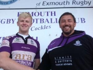 Jim Massey with Exmouth forwards coach Stuart Lowe