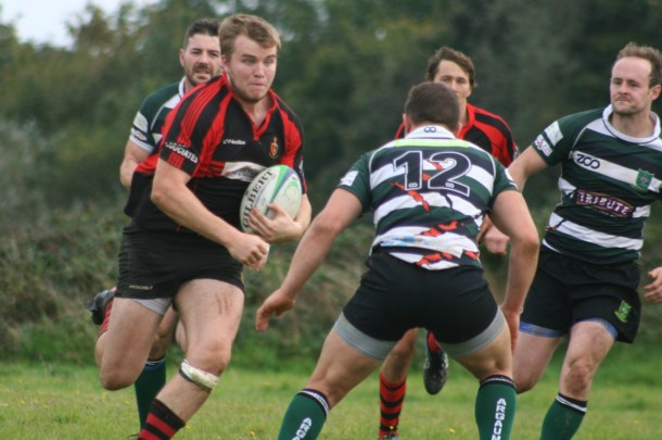 Tavistock try to attack against Plymouth Argaum in the Cornwall/Devon League