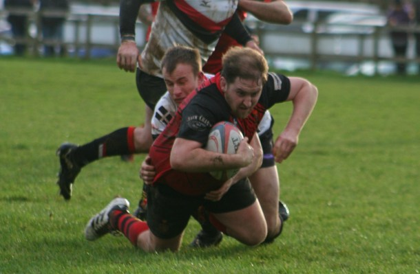 Tavistock coach Hammy Kerswill is stopped just short of the try line