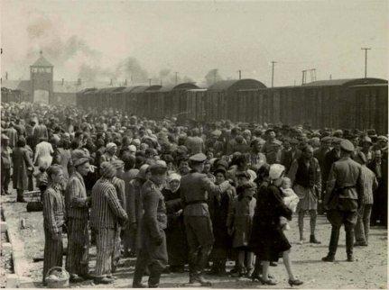 Příjem vězňů před táborem v Osvětimi