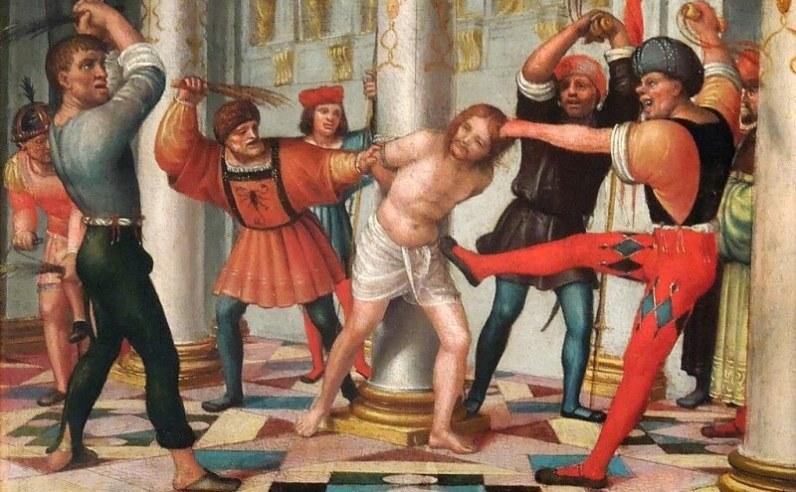 Bičování Krista. Zdroj obrázku: Bernardo Zenale, Volné dílo