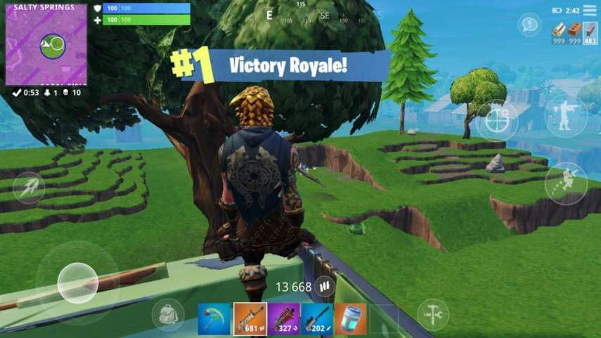 Sixth Mobile Game     First Win   High Kill     Fortnite  Battle     I was walking in the halls and talking to friends during the game  but  towards the end they all went home while I waited for my ride  Here s the  pic