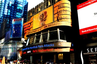 New York City Giant billboard for Disney's The Lion King and ABC-TV's crawl screen in Times Square *