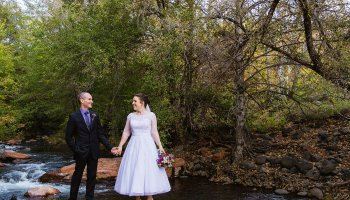 L'auberge de Sedona Wedding | Sedona, AZ | Ashley & Klay  Ashley and Klay got married at the L'auberge de Sedona. If this beautiful resort wasn't beautiful enough with its log buildings, interior design that looks like Joanna Gaines herself designed it, and gorgeous greenery throughout the property, is nestled right next to the creek. Talk about an absolute dreamy place…