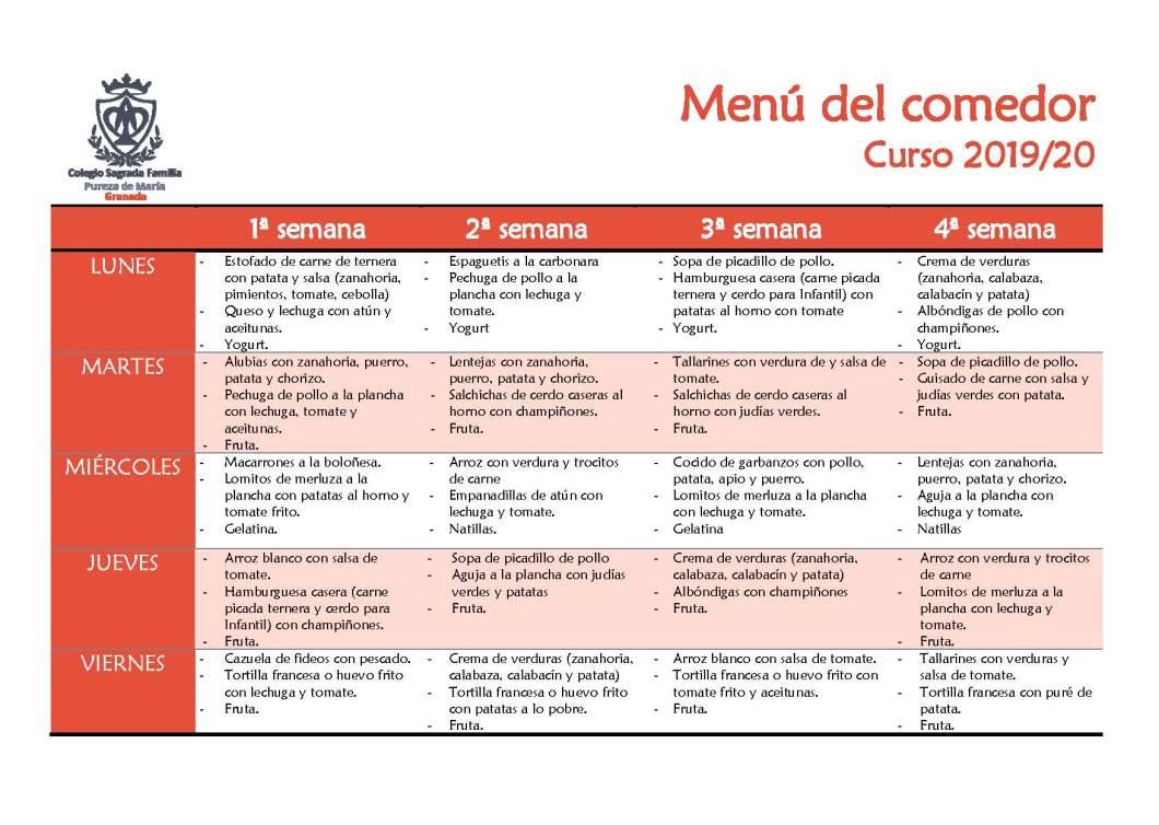 Comedor: Menú y servicios del mediodía - Colegio Sagrada Familia ...