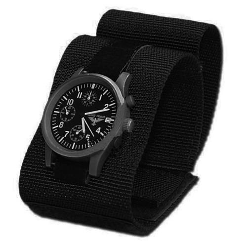bracelet de montre commando a scratch en tissu souple leger noir 259112 airsoft militaire