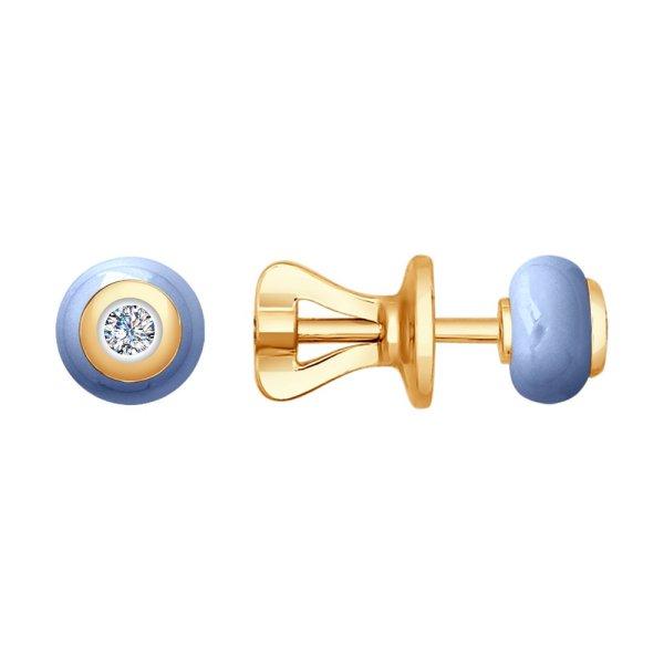 Серьги из золота с бриллиантами и голубой керамикой ...