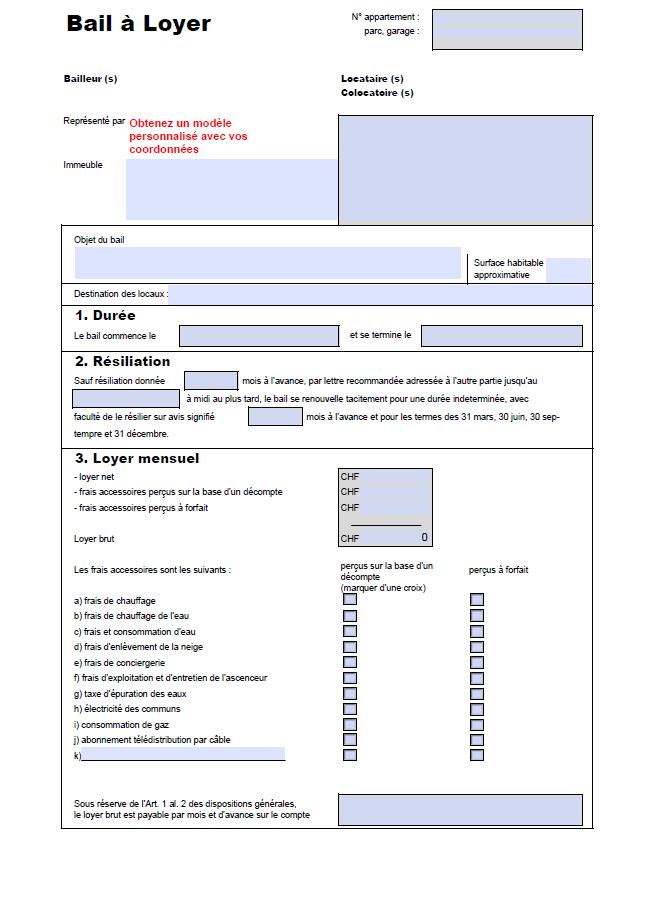 PMEtool Modele De Contrat De Bail Suisse