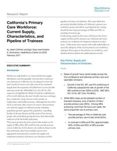 PMF 2018 Report UCSF Healthforce Center Exec. Summary report on CA MD, NP, DO
